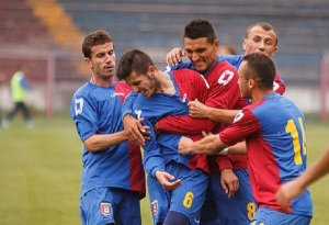 Equipe do Chindia comemora o gol de Cherchez (foto: Digisport)