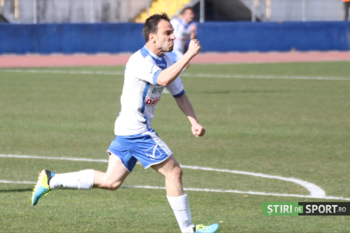 Chitu comemora o segundo gol. Gloria Bistrita afundou o FC U Craiova (fotos: Stiri de Sport)