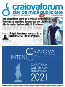 Capa do jornal semanal Craiova Forum. abaixo do destaque ao trabalho desenvolvido por O Craiovano, uma coluna sobre a má fase do futebol na cidade, e a peça gráfica, sobre a candidatura de Craiova como capital cultural europeia de 2021.