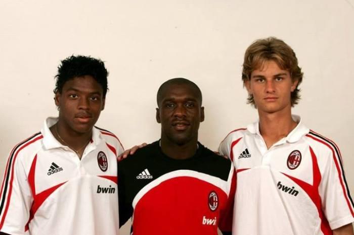 No Milan, Fabbron e seu colega Anderson Montagnini foram bem recepcionados por ninguém menos que Seedorf (foto: arquivo pessoal)