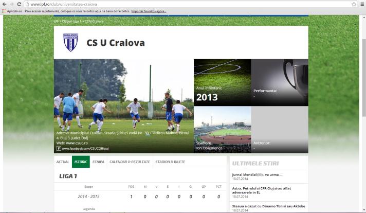 Perfil do CS Universitatea Craiova na LPF não contém títulos nem a história que o clube reivindica (imagem: reprodução)
