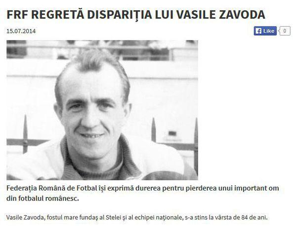 Em 15 de julho, a FRF fez a nota lamentando a perda de Vasile Zavoda