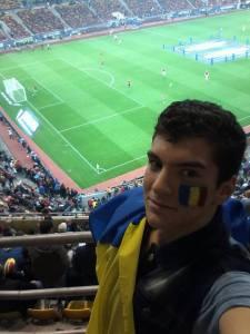 O estudante Dragos Trifanescu, no intervalo da partida e mais calmo após o incidente (foto: arquivo pessoal