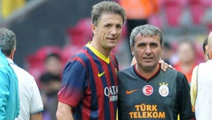 Popescu, ex-Barcelona, recebeu uma visita especial de seu cunhado Gheorghe Hag, ex-Galatasaray (foto: arquivo Realitatea)