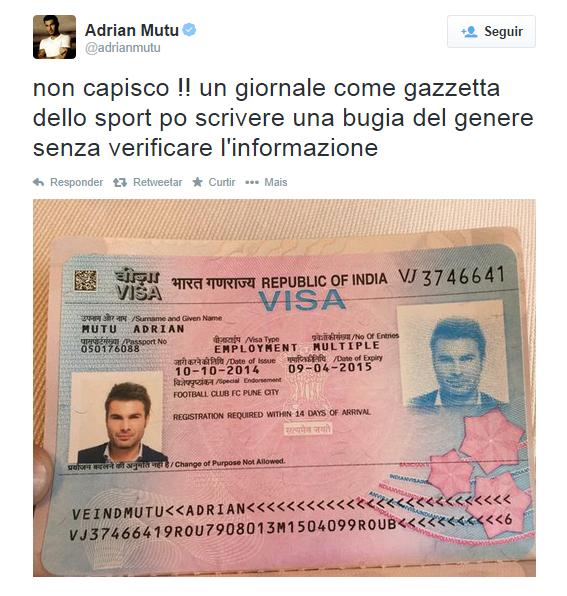 Mutu reclama do Gazzetta Dello Sport e publicou uma foto do seu visto no seu Twitter