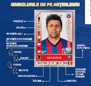 Gráfico indica as informações das figurinhas, num exemplo desatualizado: Rusescu voltou de empréstimo e não é mais jogador do Steaua (imagem: Panini Romênia)