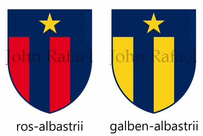John Rafael preferiu um design mais minimalista e assimétrico nas faixas. Sem o nome Steaua e com a estrela do clube, ele desenvolveu duas opções: o ros-albastru e o galben-albastru