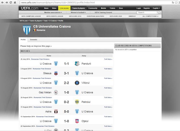 Para a UEFA, CS Universitatea Craiova nunca disputou um torneio continental