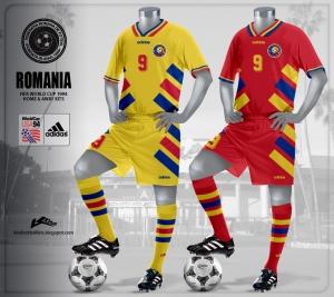 O histórico uniforme de 1994. da maior campanha romena em Copas do Mundo: só caiu nas quartas-de-final para a Suécia, nos pênaltis, após eliminar a Argentina (foto: kirefootballshirts)