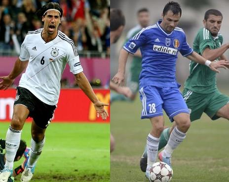 Khedira, na Eurocopa 2012, e Gheorghe, na Liga II 2013-14, com os mesmos meiões: Sem dinheiro, Mititelu teve que improvisar nos uniformes