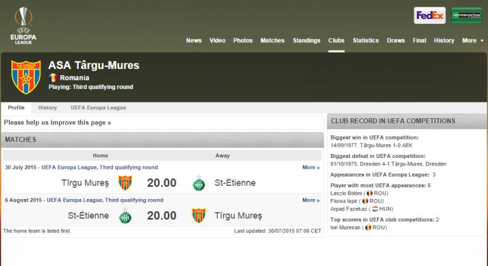 O ASA Târgu Mures de 1964, extinto em 2005, está no site da UEFA como participante da Liga Europa