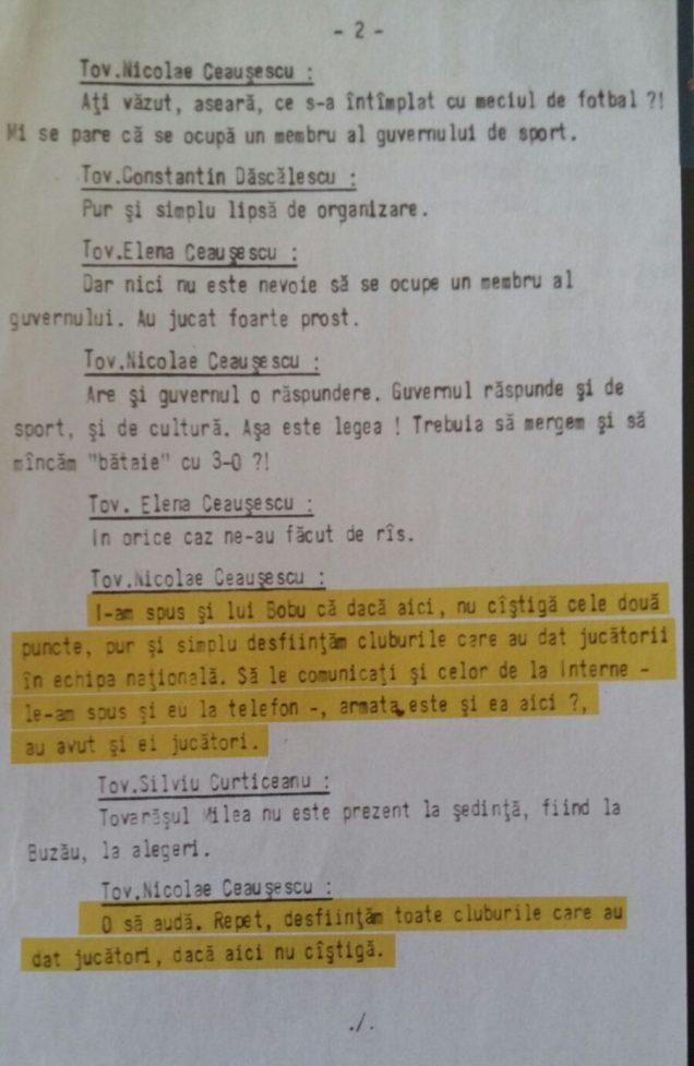 Ata da reunião do Partido Comunista que ameaçou extinguir clubes romenos